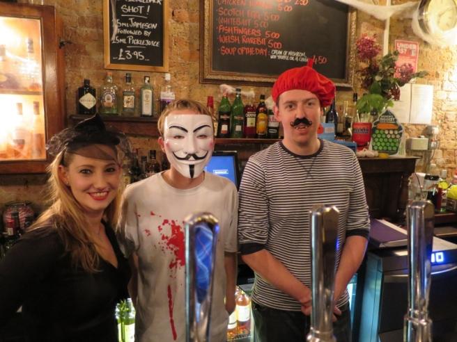 Staff at the Teddington Arms dress to impress for their Halloween party